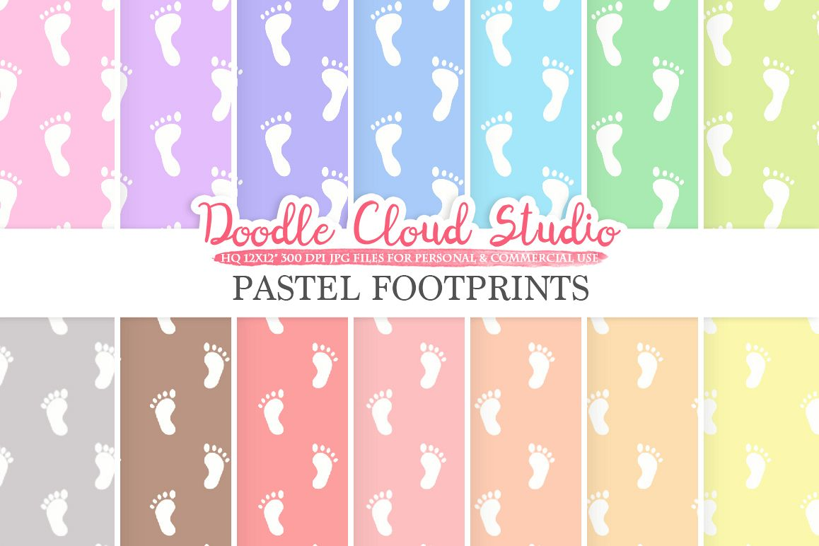 2 Sets of Pastel Footprints digital paper, Baby Footprints pattern, Digital foot print background Instant Download Personal & Commercial Use example image 1