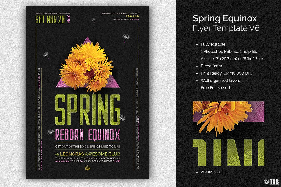 Spring Equinox Flyer Template V6 example image 1