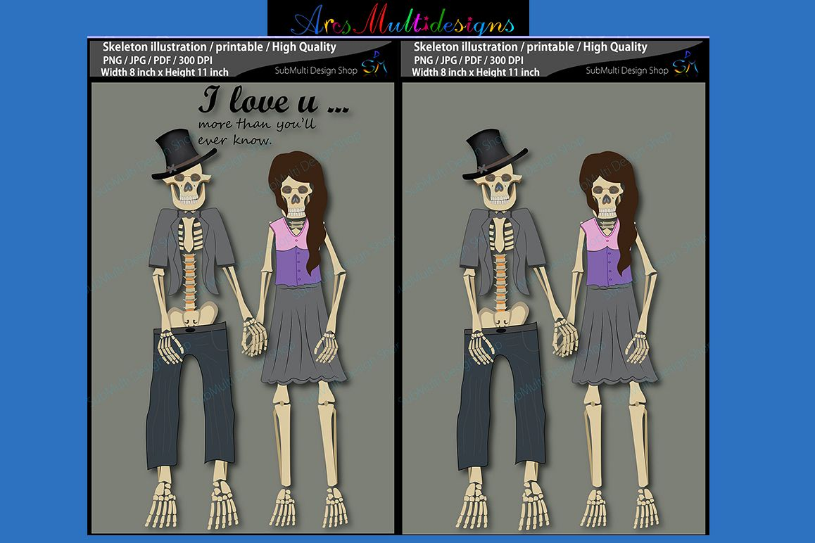 Skeleton illustration / printable / skeleton couple illustrations example image 1