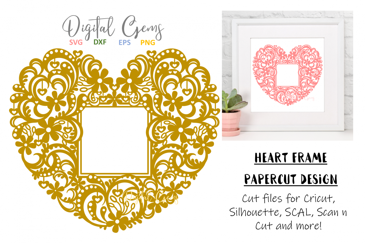 Heart frame papercut design. SVG / DXF / EPS / PNG files example image 1