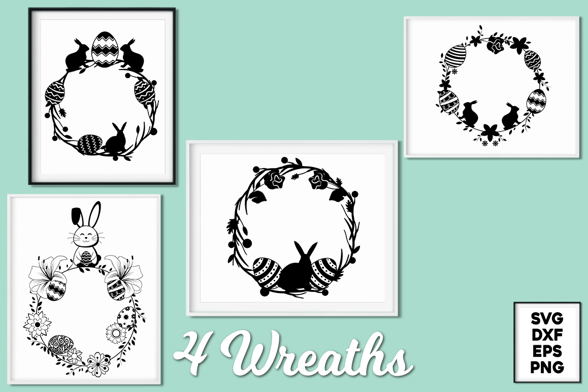 Easter Wreaths SVG Cut Files Pack example image 1
