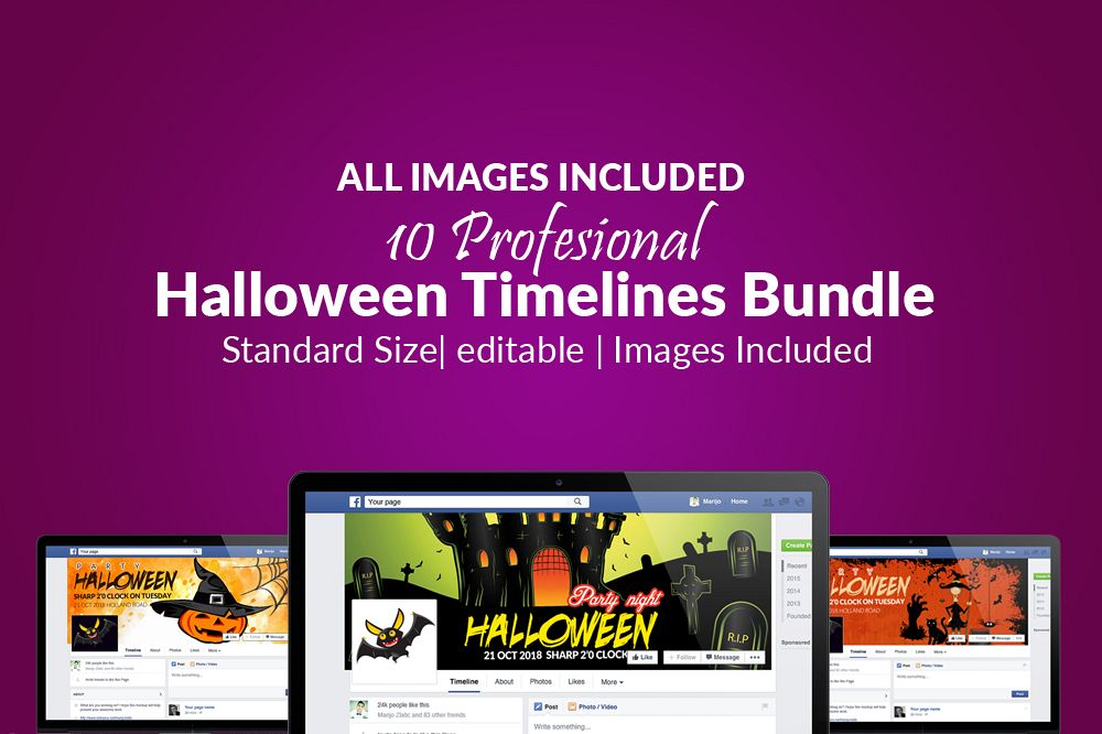 10 Halloween Facebook Timeline Cover Bundle example image 1