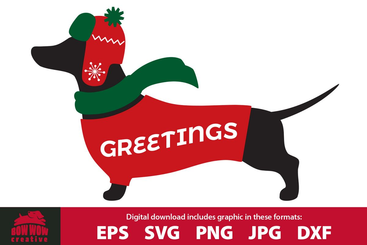 Winter / Christmas Dachshund wearing sweater, scarf & hat example image 1