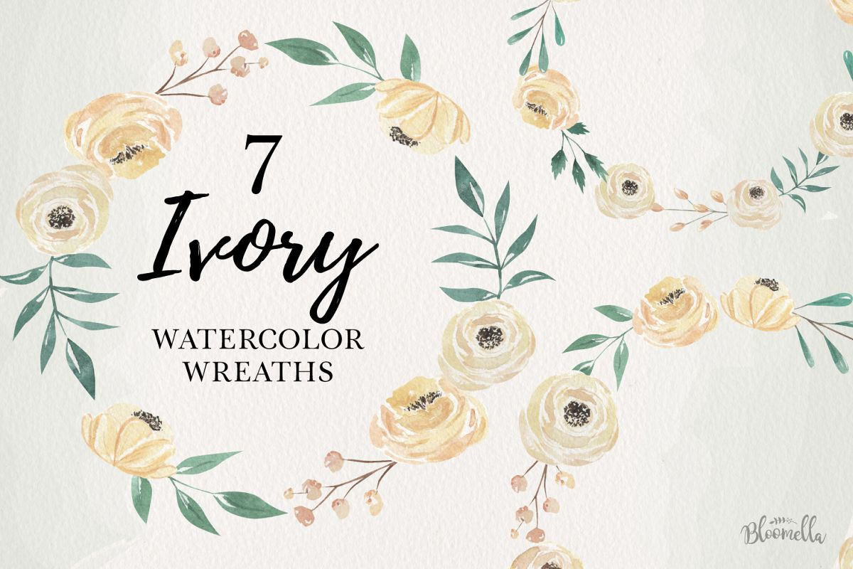 Ivory 7 Wreaths Watercolor Flowers Cream Wedding Florals example image 1
