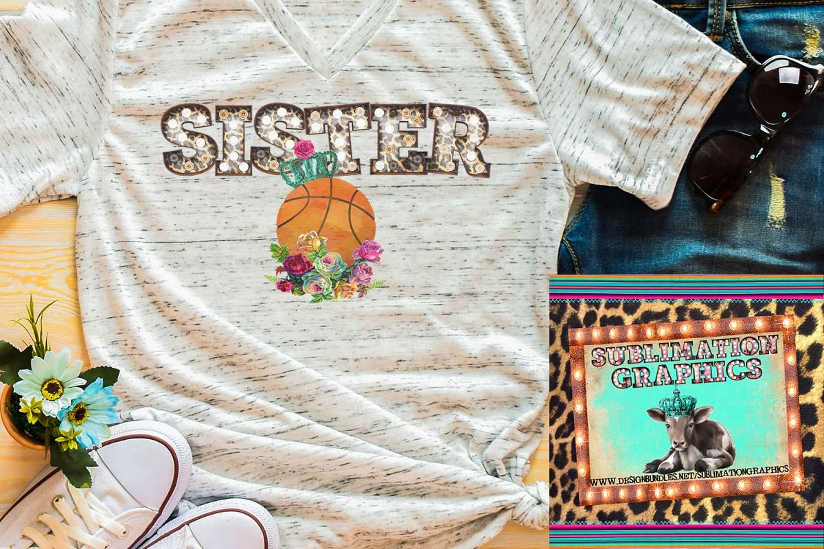 Basketball Sister Marquee Sublimation Download example image 1
