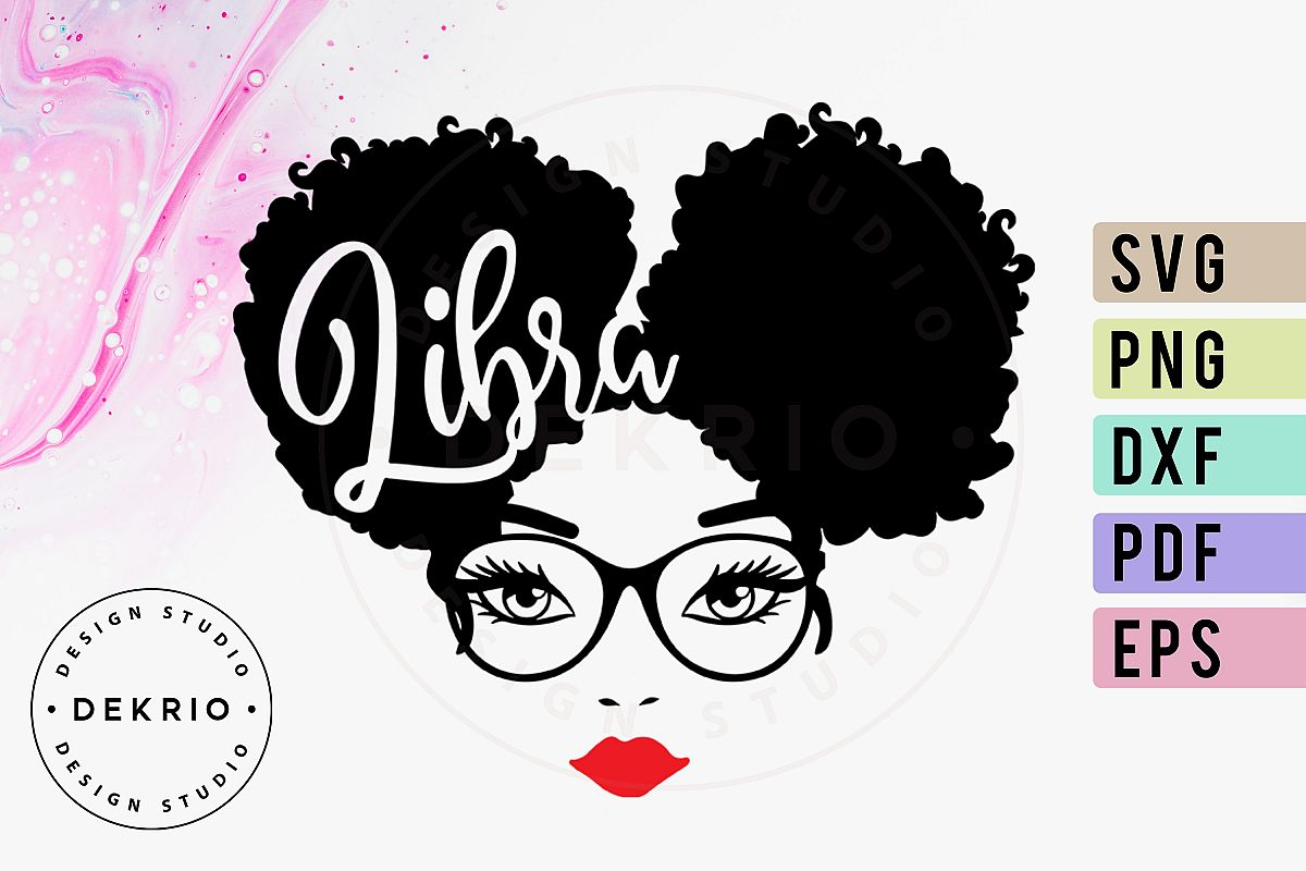 Libra Afro Woman SVG PNG DXF EPS PDF Files example image 1