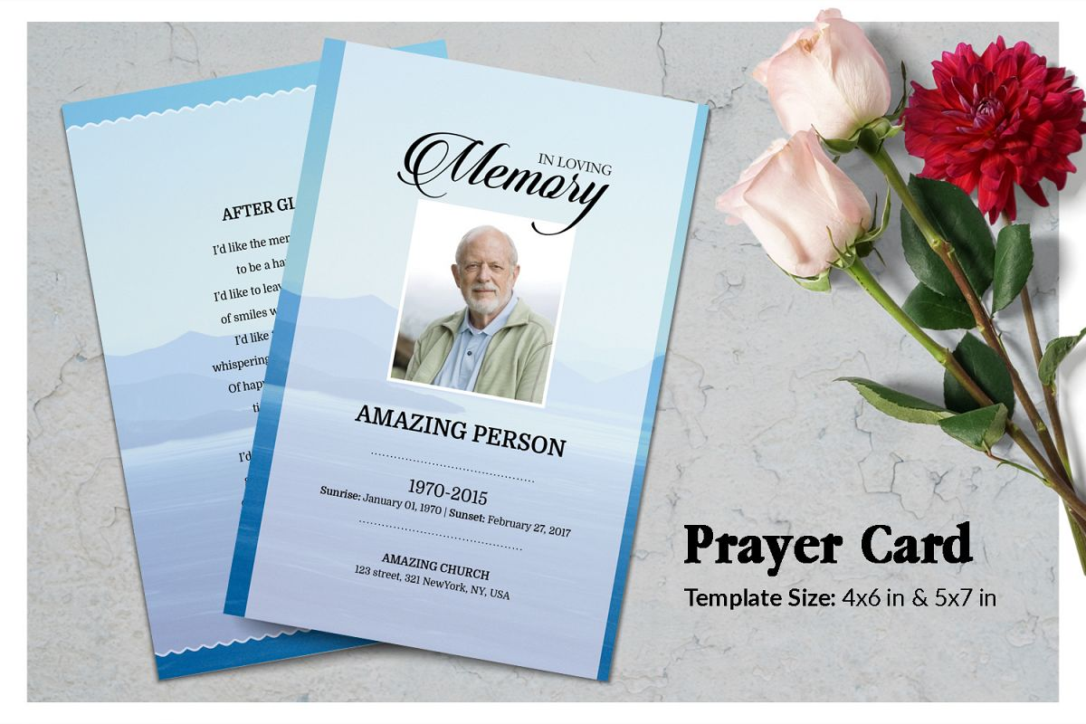 Blue Mauntain Funeral Prayer Card Template example image 1