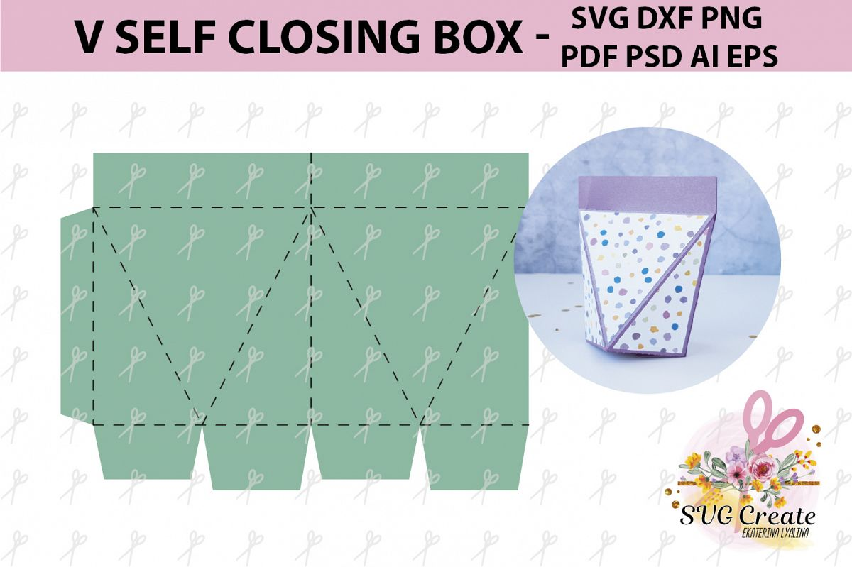 Self closing box, self-closing box, pdf gift box template example image 1
