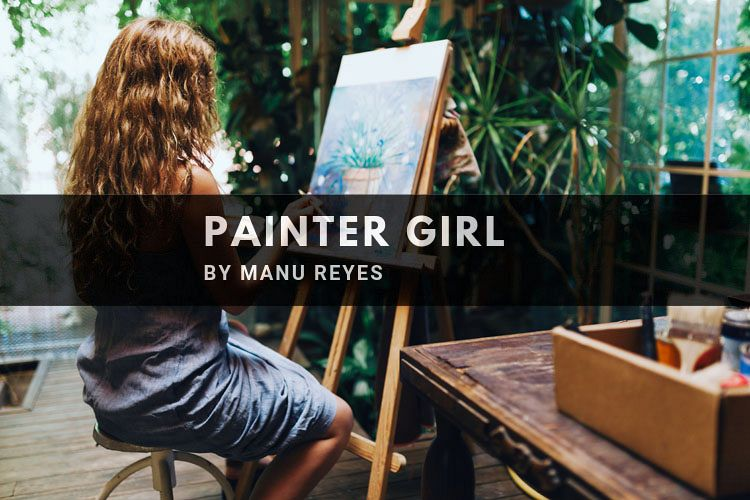 Woman painter painting in her painting studio. example image 1