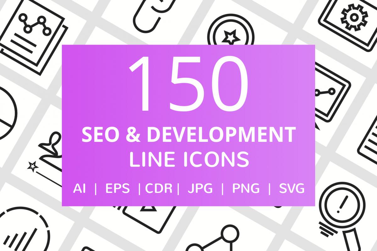 150 SEO & Development Line Icons example image 1