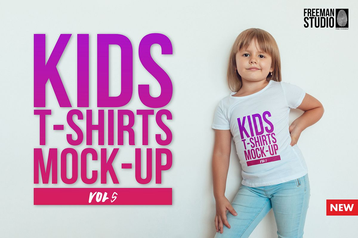 Kids T-Shirt Mock-Up Vol 5 example image 1