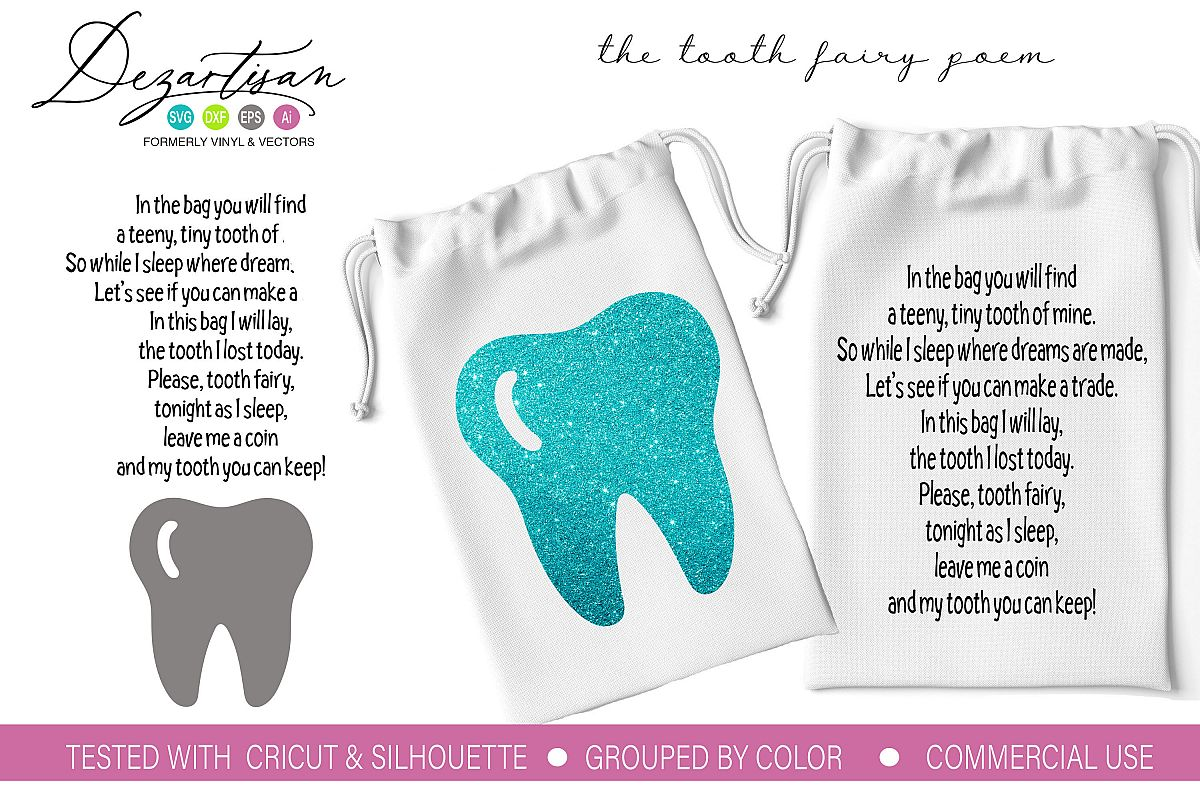 The tooth fairy poem SVG DXF PNG Cut File example image 1