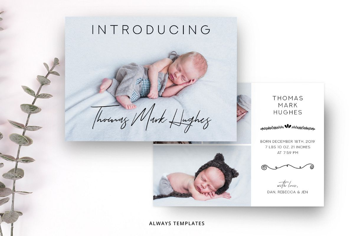 Birth Announcement Template BA007 example image 1