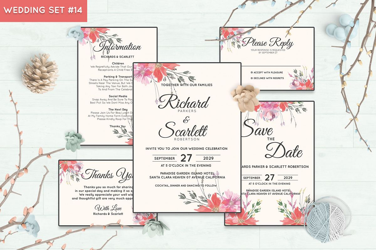 Wedding Invitation Set #14 Watercolor Floral Flower Style example image 1