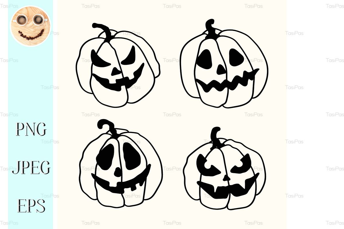 Halloween Pumpkin Cartoon Images.Halloween Cartoon Outline Spooky Face Pumpkins Set