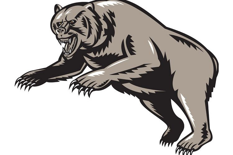 grizzly bear attacking woodcut style example image 1