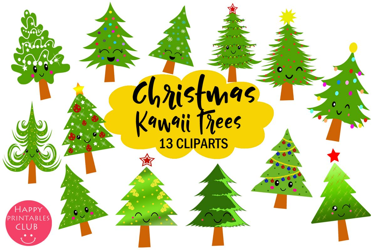 Cute Kawaii Christmas Trees Clipart- Xmas Trees Clipart example image 1