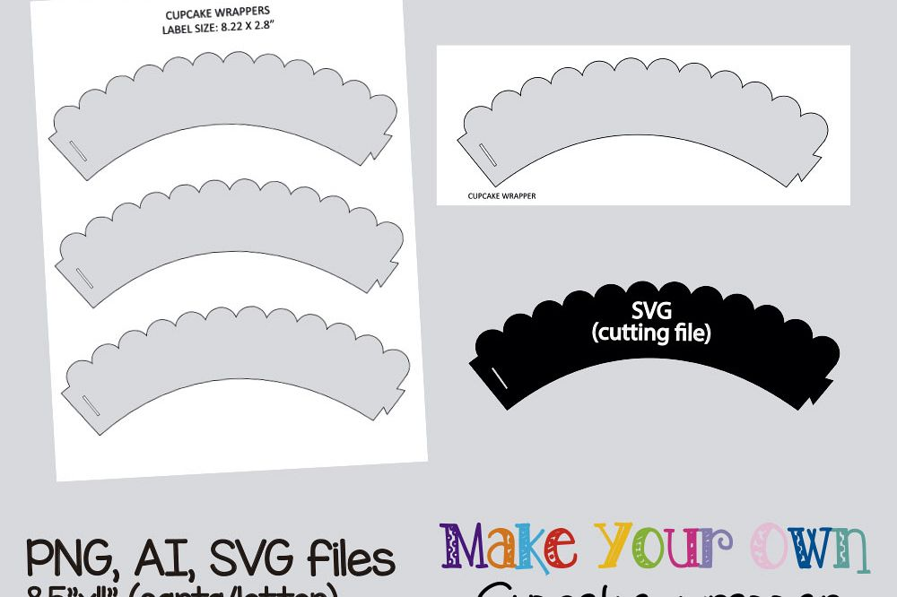 Cupcake Wrapper Waves Template Collage Sheet Digital Printable