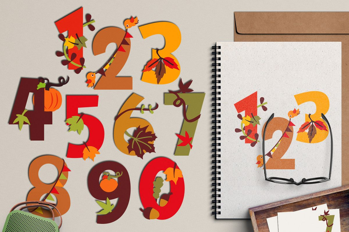 Autumn numbers clipart, fall season graphic illustrations example image 1