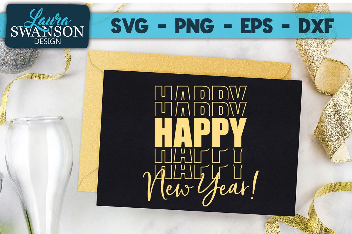 Happy New Year - Mirror SVG, PNG, EPS, DXF example image 1