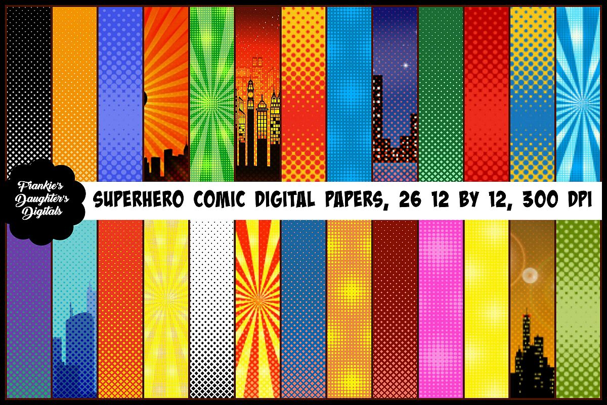 Superhero Pop Art Comic Digital Papers, Halftone Patterns example image 1