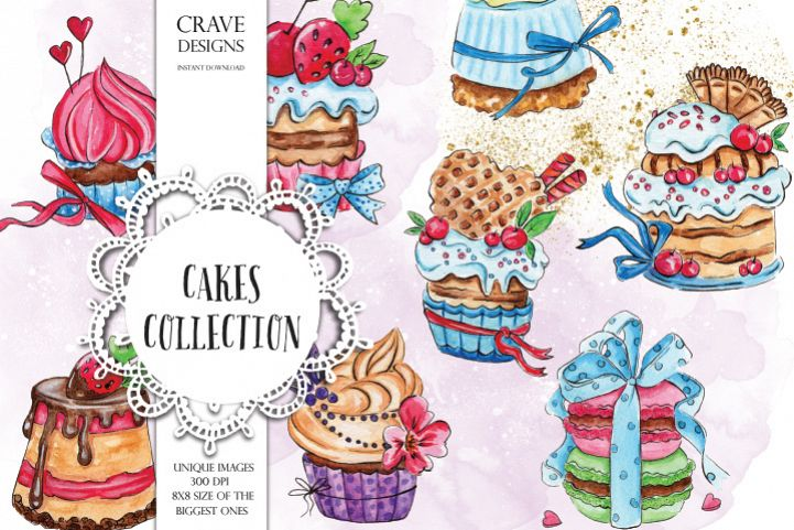 Cakes Collection Clip Art example image 1