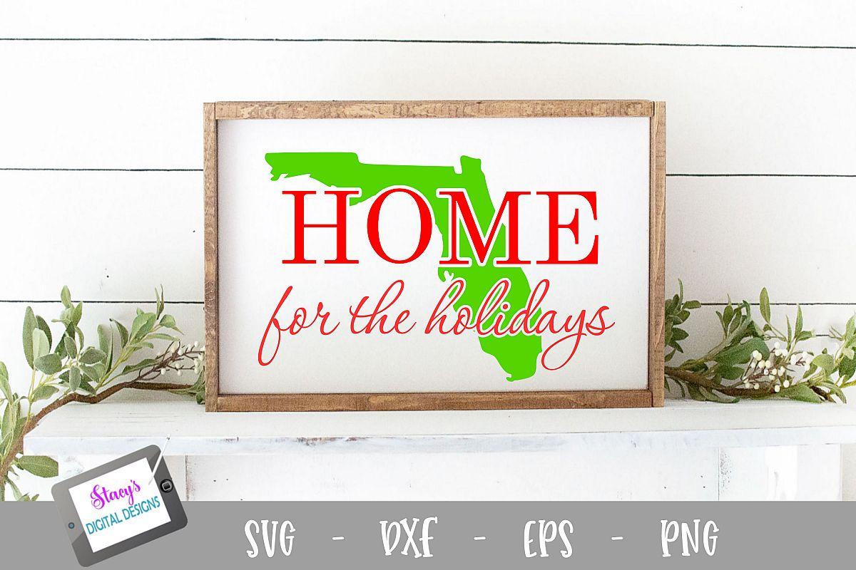 Florida - Home for the Holidays - Christmas SVG example image 1