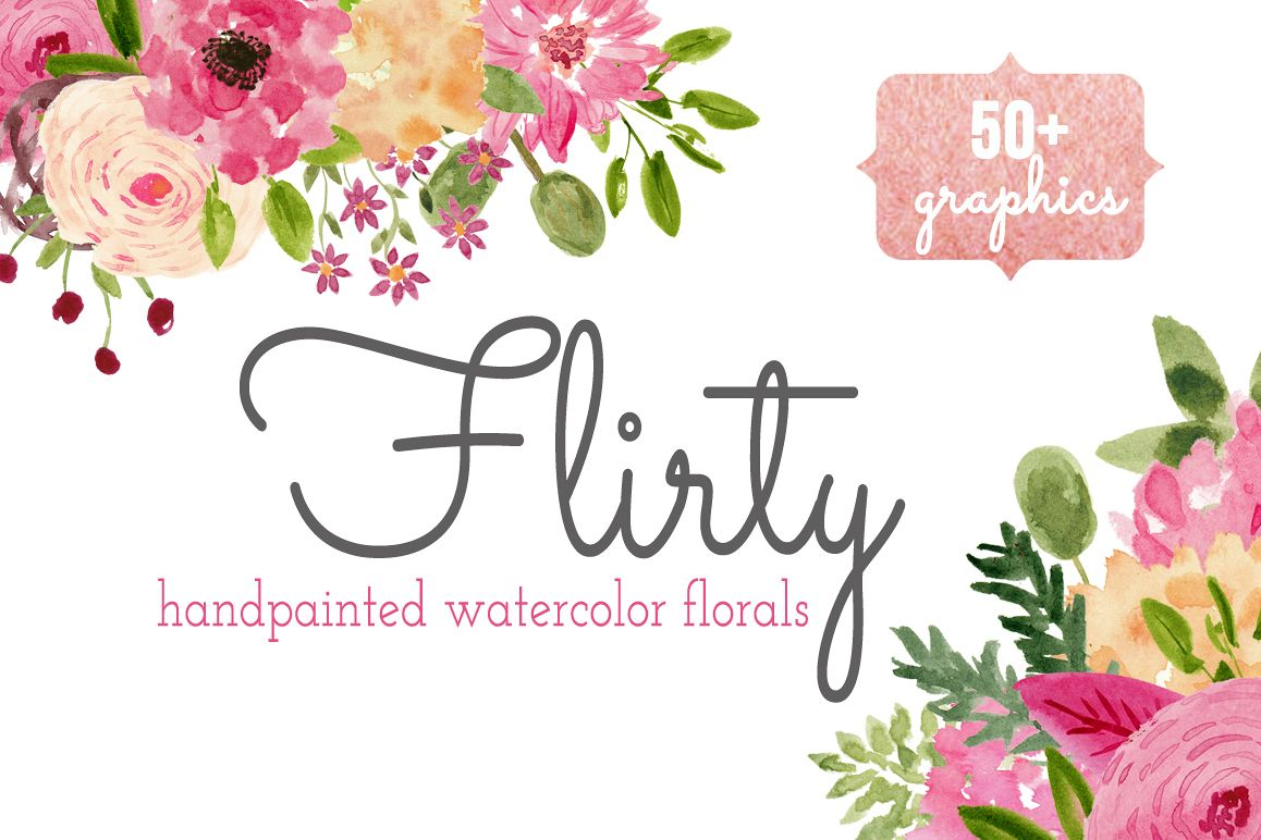Watercolor Flower Clip art - Flirty example image 1