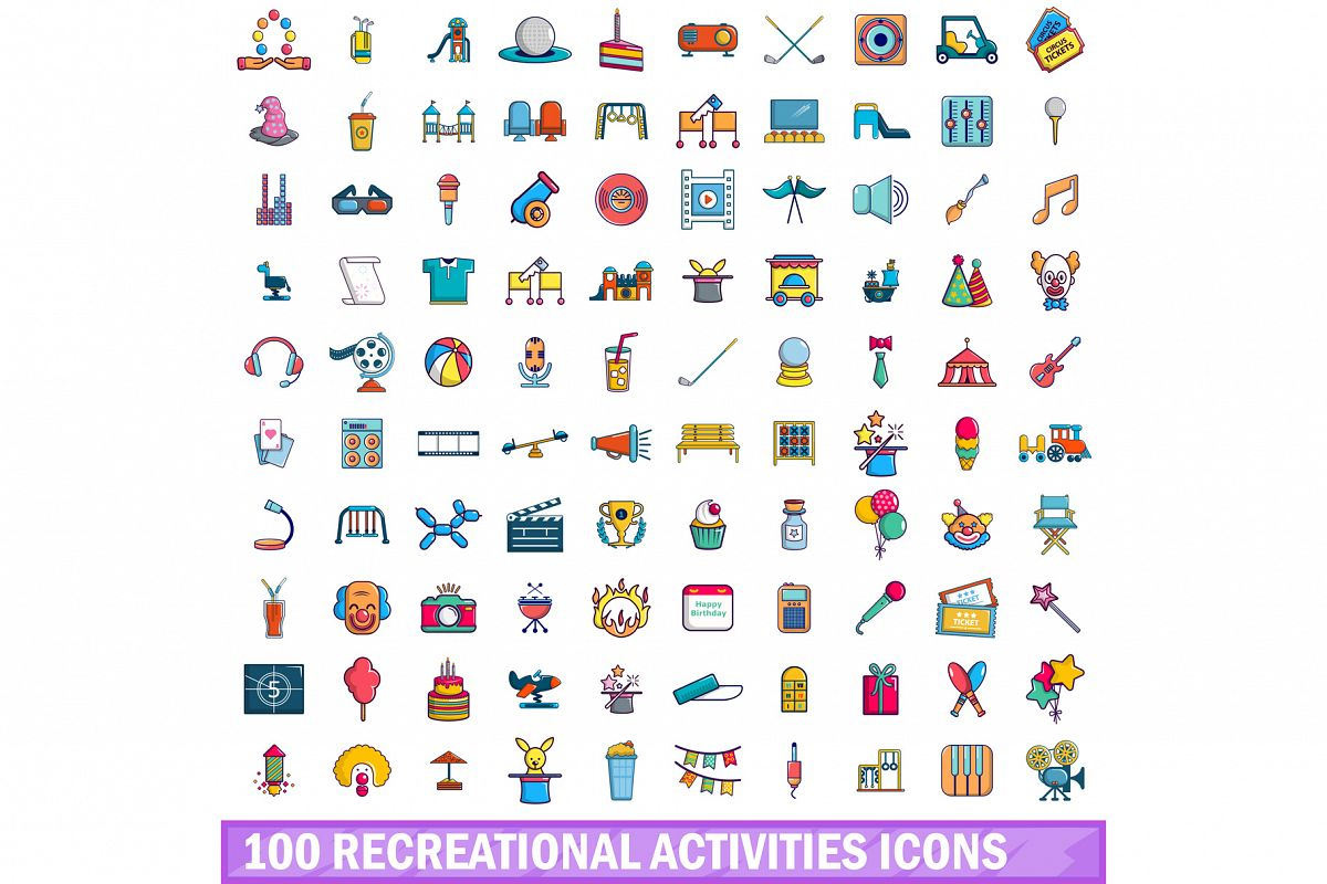 100 recreational activities icons set, cartoon style example image 1