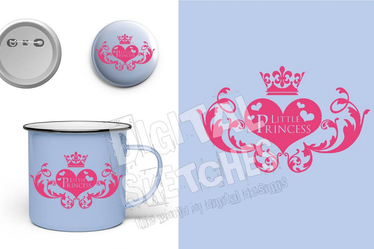 Crown Little Princess Cut File Vector Graphics Illustration example image 1