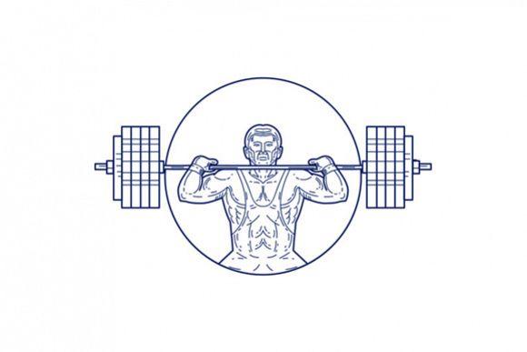 Strongman Lifting Weight Mono Line example image 1