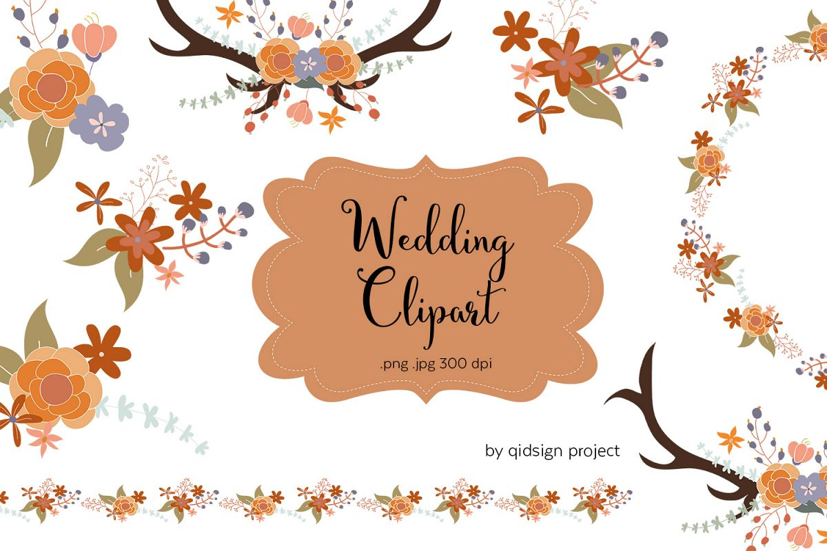Floral And Antler Wedding Clipart | PNG|JPG example image 1