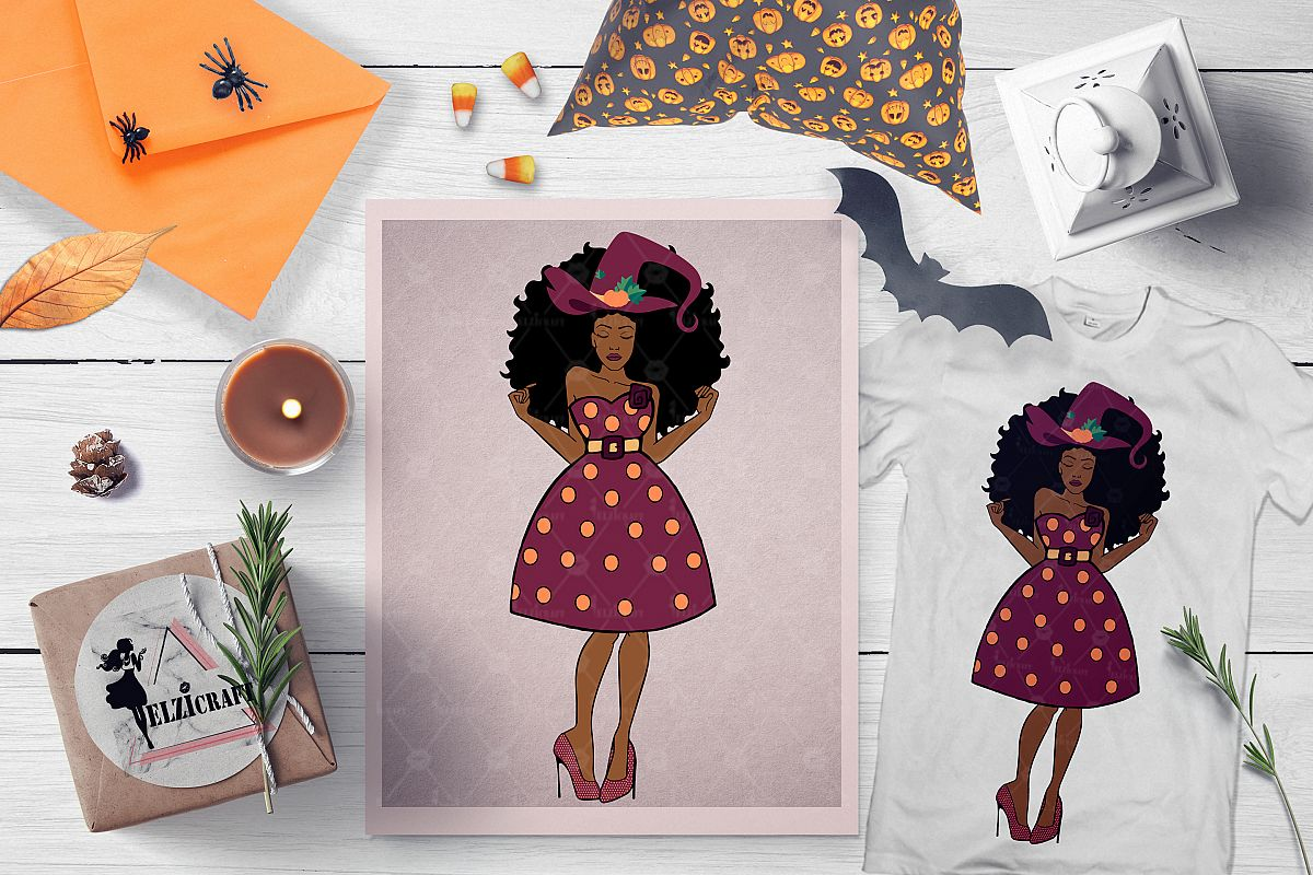 Afro Woman Melanin Halloween Barbie Doll Witch SVG Cut File example image 1