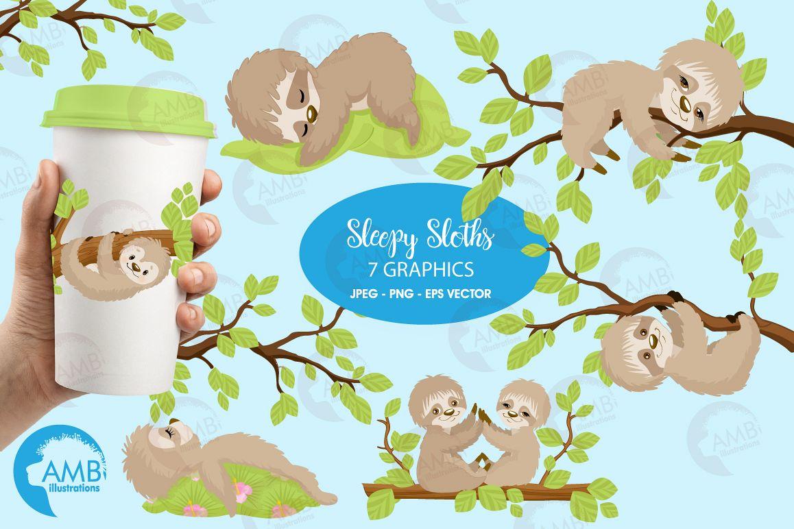 Sleepy Sloths clipart, graphics, illustrations AMB-2200 example image 1