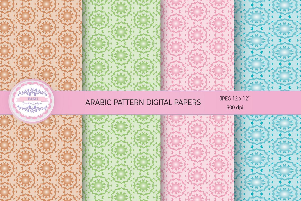 ARABIC PATTERN DIGITAL PAPERS example image 1