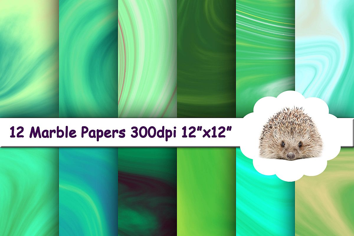 12 Green Marble Textures / Backgrounds / Papers example image 1