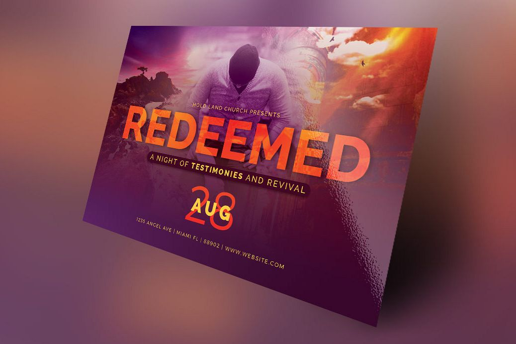 redeemed revival church flyer template example image