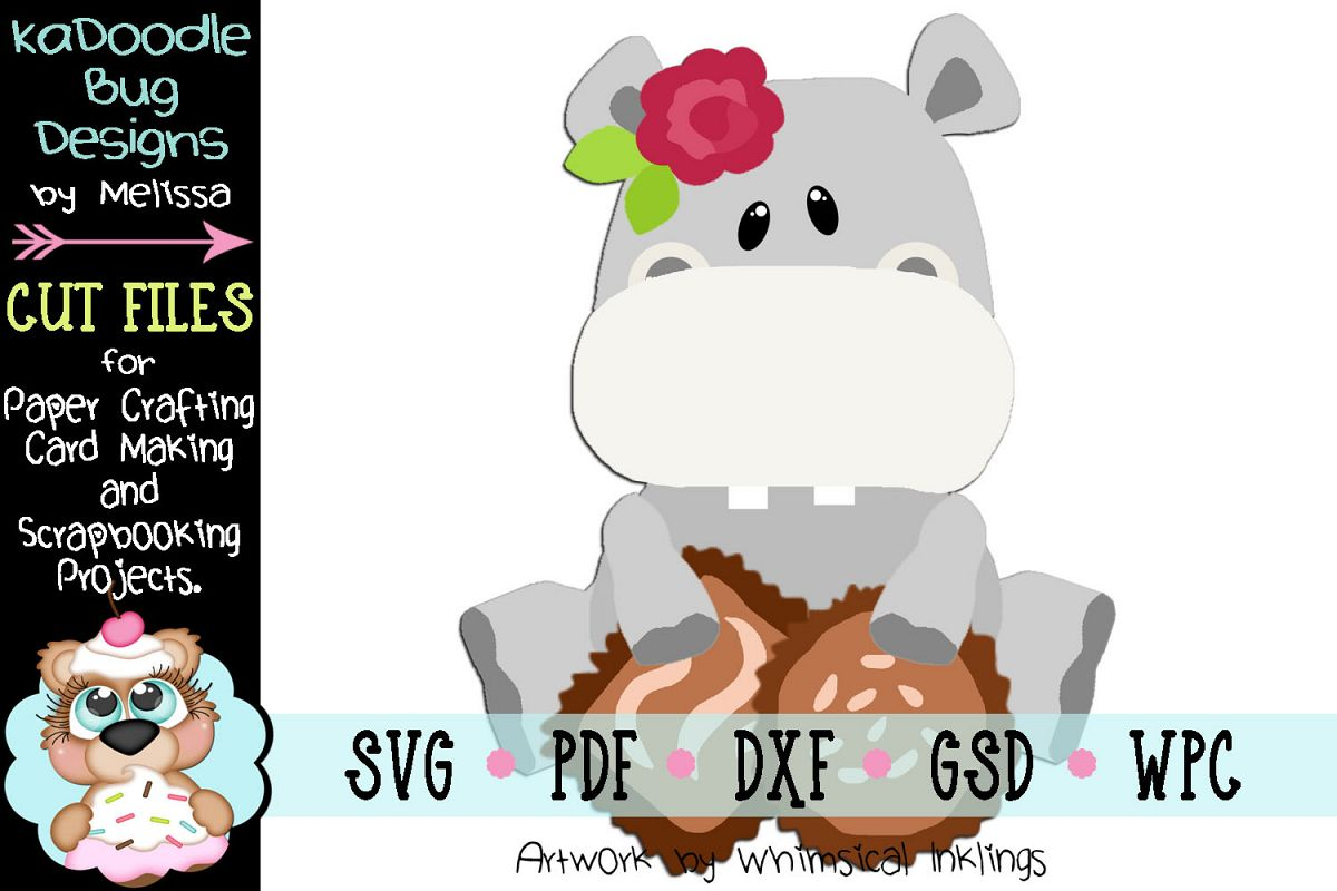 Valentine Girl Hippo Cut File - SVG PDF DXF GSD WPC example image 1