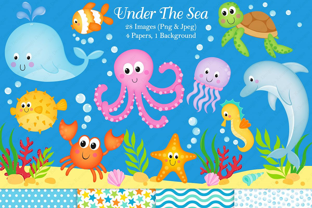 Under the sea graphics & illustrations, Sea animals graphics & illustrations, Under the sea clipart, Sea animals clipart, Under the sea digital paper example image