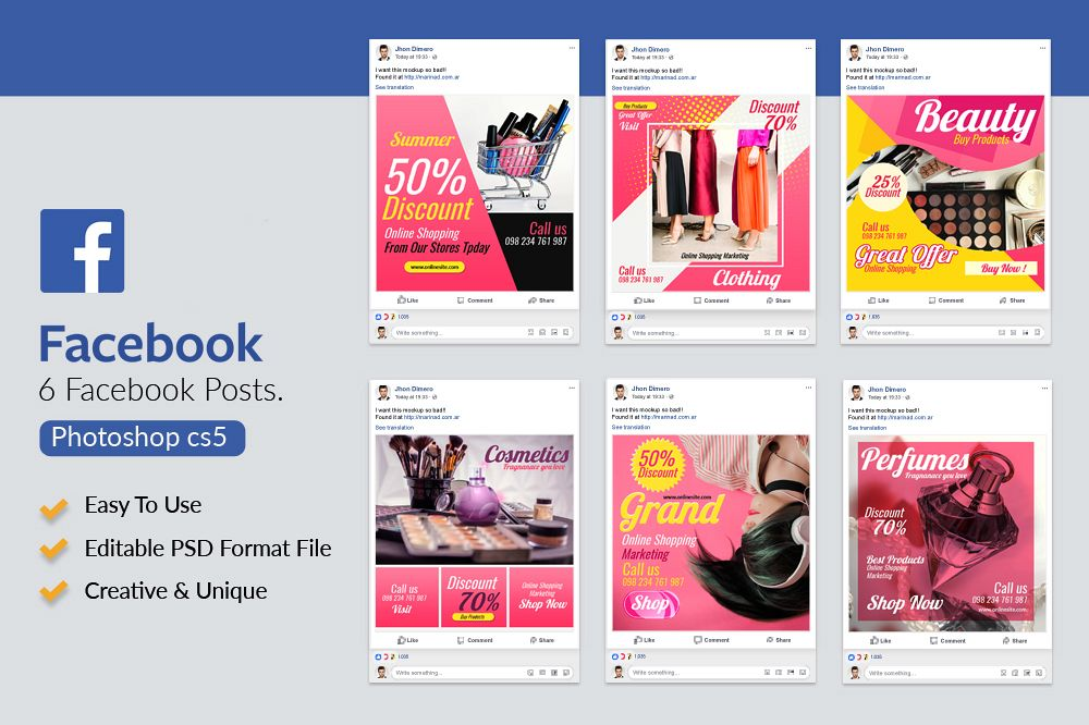 6 Fashion & Cosmetics Product Facebook Posts example image 1