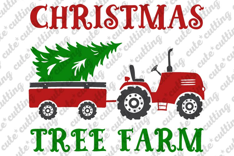 Christmas tractor svg, trailer with tree svg, dxf, jpeg, pdf example image 1