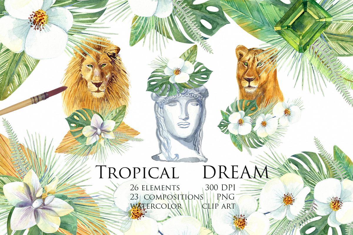 Watercolor Tropical Dream Clip Art example image 1