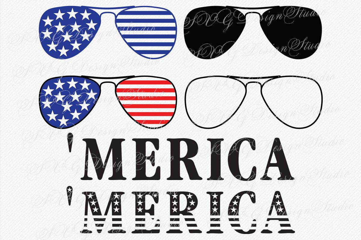 Merica Sunglasses SVG America Sunglasses Fourth of July SVG 4th of July Patriotic SVG Sunglasses  example image 1