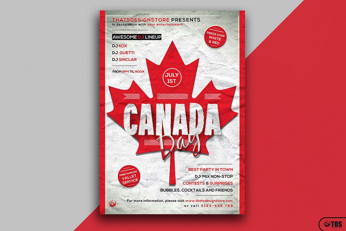 Canada Day Flyer Template example image 1