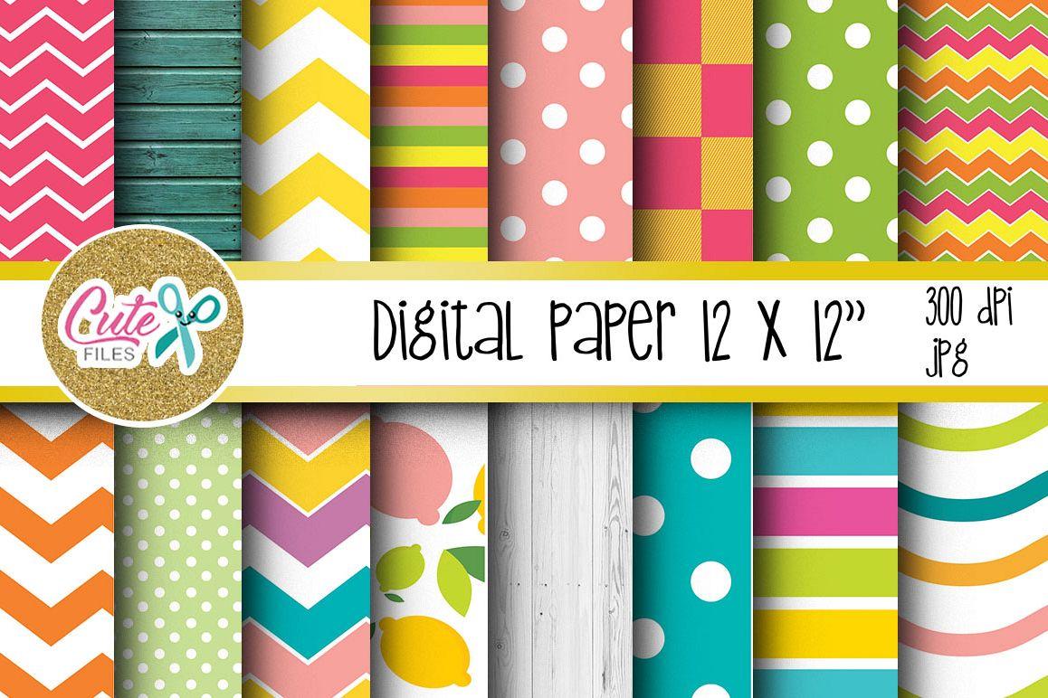 Summer Digital Paper, colorful digital paper example image 1