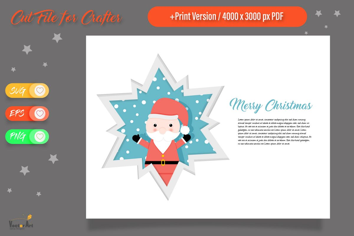 Christmas Star Paper Cut - Santa Claus example image 1