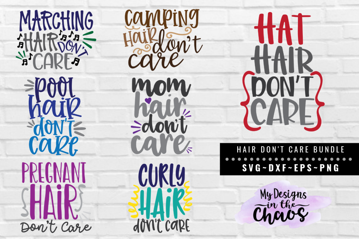 Hair Don't Care Bundle of 7 SVG EPS DXF PNG example image 1