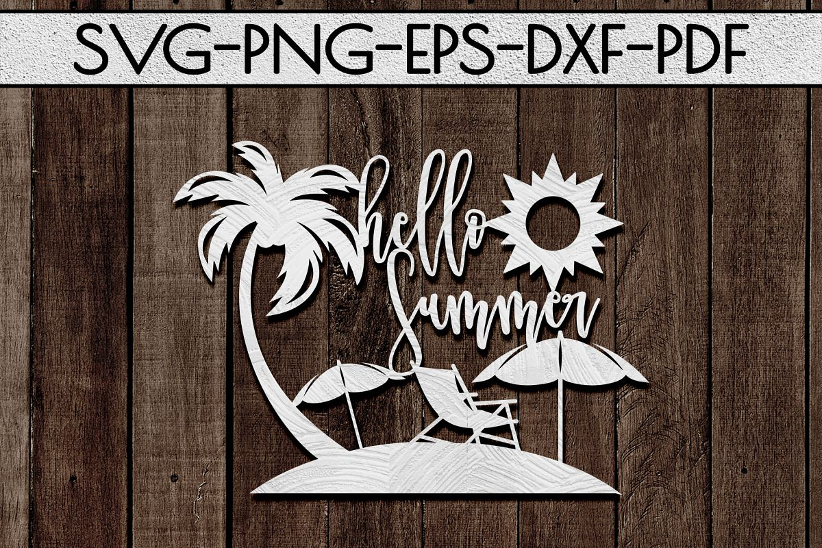 Hello Summer Papercut Template, Beach House Decor SVG, DXF example image 1