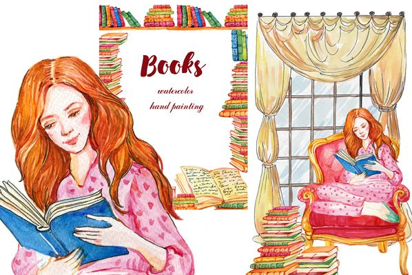 Books clipart, Watercolor girl.Watercolor illustration example image 1