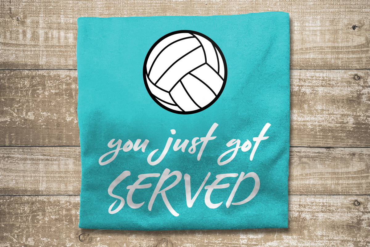 Volleyball You Just Got Served SVG File Cutting Template example image 1